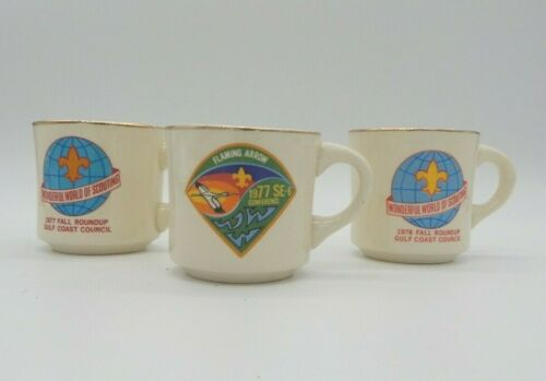 Vintage Lot of 3 Boy Scout Collectable Ceramic Mugs Flaming Arrow 1970s