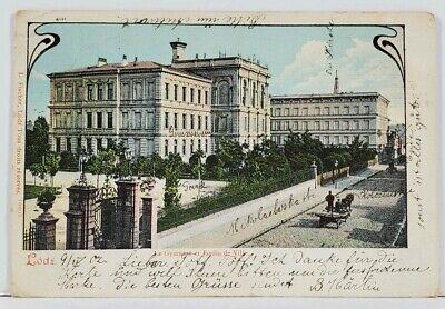 LODZ Le Gymnase et Jardin de Ville POLAND 1902 Russia to Berlin Postcard L3