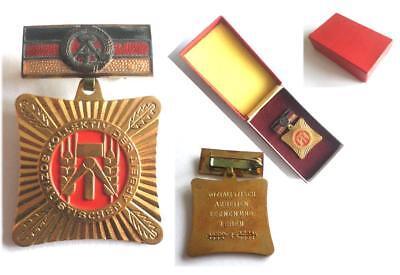DDR Medaille + Etui, Sozialistisch East German medal Socialist work enamelled
