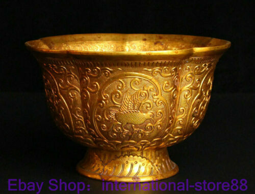"""5.6"""" Antique Old Chinese Copper 24K Gold Dynasty Palace Phoenix Flower Bowl"""