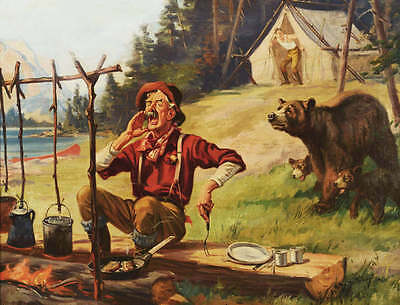 Hunter Calling Dinner Ready, Bear and Cubs by Henry (Hy) Hintermeister