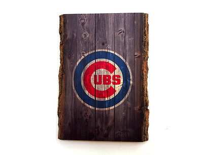 CHICAGO CUBS Wood Sign - Natural Edge Wooden Plaque with Cubs Logo