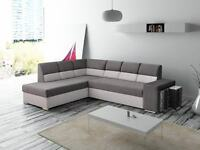 NEW Corner Sofa bed LORENA with 2 poufs Free brown& beige fabric -Fast delivey