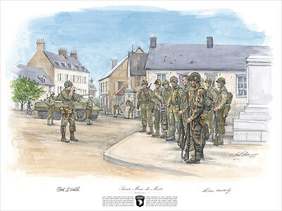 2 signature art print WWII D-Day Band of Brothers Signed by Malarkey and Strohl!