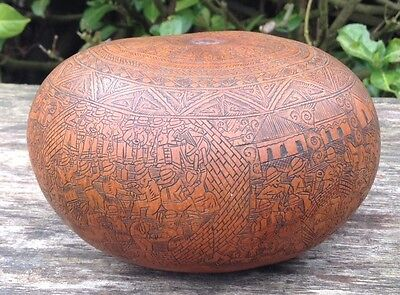 Beautiful Old Vintage Intricately Hand Carved Gourd Rattle - Peruvian Folk Art