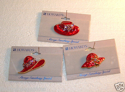 (Three Red Hat lapel pins Enamel and Rhinestone Howard's Jewelry mixed metals)