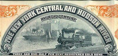 New York Central & Hudson River Railroad Bond Stock Certificate RR Lake Shore