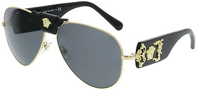 Versace Men's Mirrored VE2150Q-100287-62 Gold Sunglass