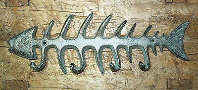 Cast Iron SKELETON FISH Towel Hanger Coat Hooks Hat Hook, Key Rack Hunting Camp