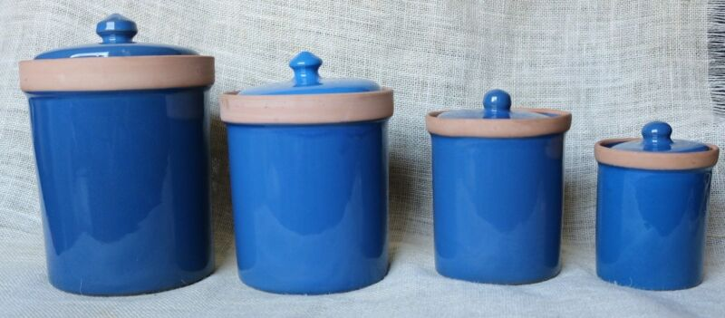 Set (4) HIMARK GOURMET KITCHEN Italy Blue Glazed Clay Counter Top Canisters