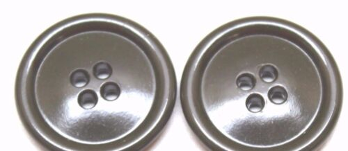 WWII US Green Plastic Overcoat Buttons 1 1/8 in 28 mm 45 L lot of 2 B4227