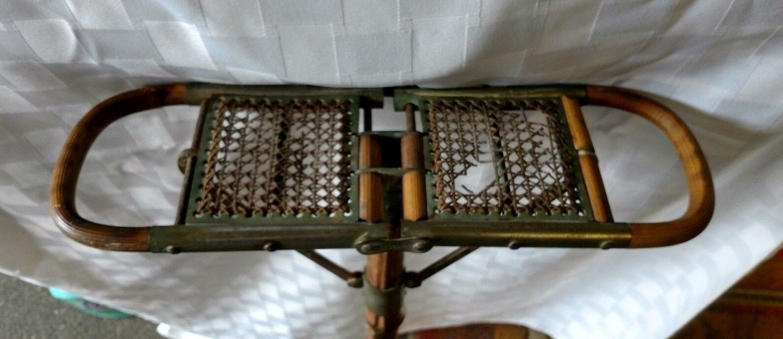ANTIQUE FRENCH STYLE Folding Bamboo Wicker Wood Cane Hunt Chair ...
