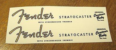 2 Fender Stratocaster Headstock Waterslide Decal Strat Vintage Guitar Neck 54-64