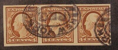 Scott 346 4 Cents Washington Used Imperf Strip Of 3 SCV $80.00