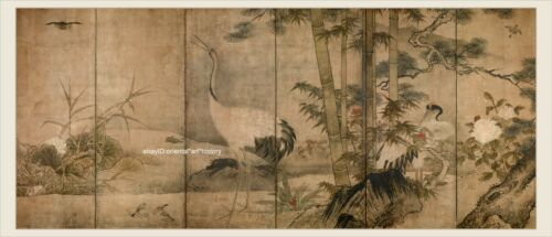 Japanese old screen painting big size Flowers and birds in four seasons 2