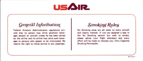 Vintage US Air Airways Airlines Seat Occupied Information Smoking Rules Card