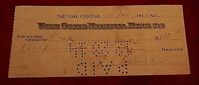 1914 Salt Lake City Utah State National Bank  Check 12 24 14  J E Openshaw