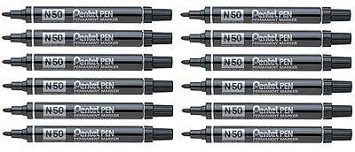 Pentel N50 Black Permanent Marker Pen Bullet Tip - Pack 12