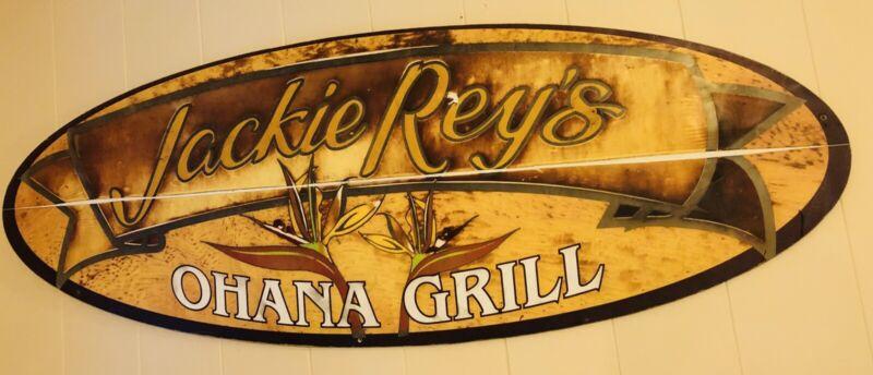 Jackie Rey's Ohana Grill Hawai'i Restaurant Hawaiian Historical Display Sign BIG