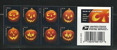 Halloween Postage Stamps (5137-5140 Jack O Lanterns Complete Booklet of 20 Forever Halloween)