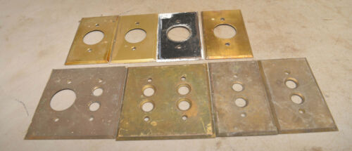 8 solid brass push button electrical outlet switch plate victorian antique lot