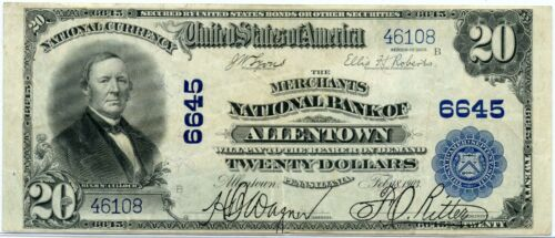 Series 1902 The Merchants National Bank of Allentown,PA $20 Plain Back, VF