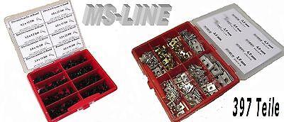 Blechmutter + Blechschrauben schwarz mit Bund im Sortiment 397 Teile
