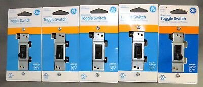 Lot Of 5 - Ge 15 Amp Grounding Sp Toggle Switch 120 Vac Pressure-lock Brown