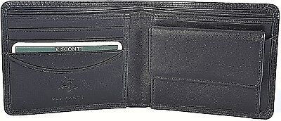 VISCONTI QUALITY BLACK LEATHER BIFOLD MENS WALLET & COIN PUR