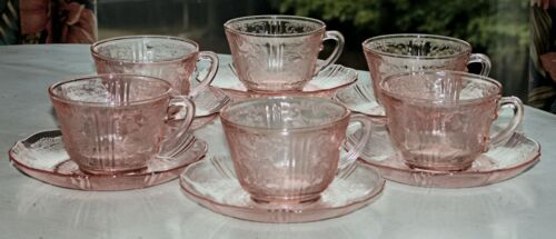 Macbeth Evans AMERICAN SWEETHEART PINK Depression Glass (6) CUP & SAUCER SETS