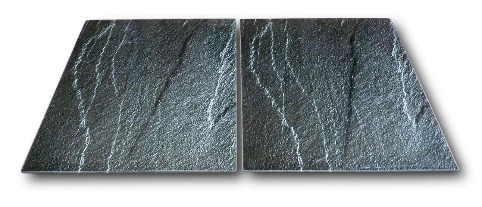 Glas Herd-Abdeckplatte Herd Abdeckung für 80cm Ceranfeld Kochfeld Motiv Schiefer