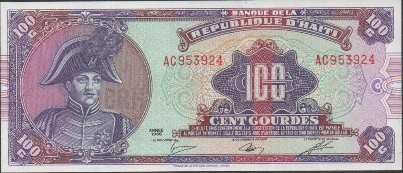 Haiti , 100 Gourdes , Year 1986 , P 250a , Prefix AC , Rare