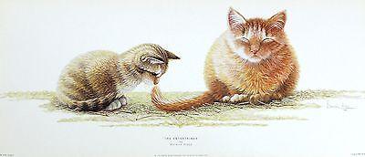 "WARWICK HIGGS ""Entertainer"" CAT tail kitten NEW art SIZE:25cm x 59cm  RARE"