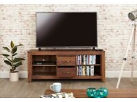 Dark Wood Solid Walnut Widescreen TV Cabinet NEW