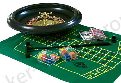 """ROULETTE WHEEL SET 16"""" 40CM HOME CASINO EXPERIENCE PLAYING CARDS CHIPS FELT RACK"""