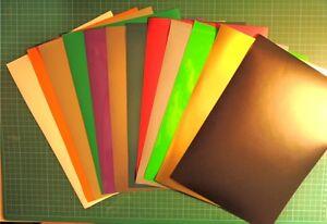 Folie 12 x DIN A4 Klebefolie Plotterfolie diverse Bögen Blatt BUNT Vinylfolie