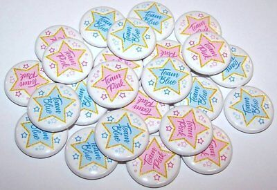 Stars Team Pink Blue Gender Reveal Pins Buttons Party Favors - Set of 24 - Team Pink Team Blue Buttons