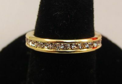 3MM 14KT GOLD EP STACKABLE APRIL CLEAR WEDDING ETERNITY RING SIZE 5