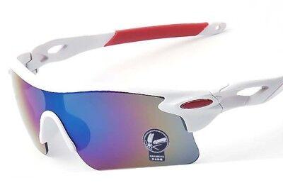 Fahrrad Sonnenbrille Polarisiert UV-400 Outdoor Sportbrille Radsport, weiß-rot
