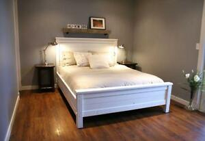 Salvaged Wood Bed Frame $2295 and Bedside Tables $475. By LIKEN Woodworks