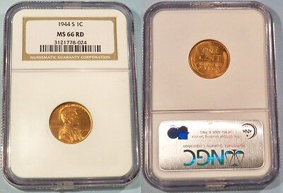 1944 S NGC MS66RD LINCOLN CENT 1C  MS 66 RD RED