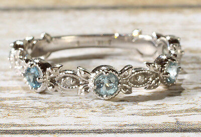 Vintage 14K White Gold Genuine Aquamarine Anniversary Band Wedding Ring US SZ 7