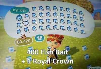 400 Fish Bait + Bonus Royal Crown Animal Crossing New Horizon