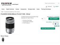 FUJINON Long zoom lens XC50-230mm F4.5-6.7 OIS - black. Never used. Still in box.
