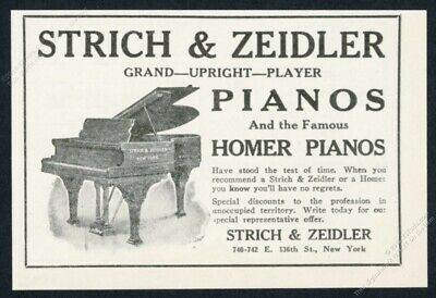 1923 Strich & Zeidler grand piano illustrated vintage print ad
