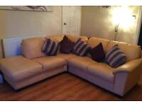 Pale yellow leather corner sofa. Delivery available