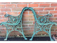Garden bench ends with lion face