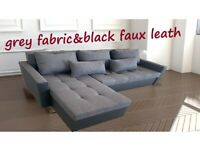 👍 FREE DELIVERY 👍 Corner Sofa Bed GREY FABRIC & BLACK FAUX LEATHER Brand New