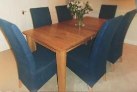 Light Oak, dining table and 6 chairs