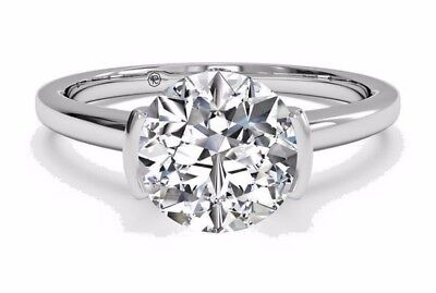 3.02 Ct Brilliant Cut Diamond Bridal Engagement Ring 14k Solid White